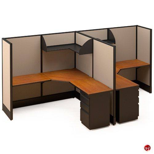 2 person office desk picture of 2 person l shape electrified cubicle desk workstation office - Two person office desk ...