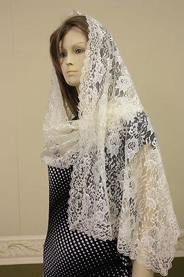 Ivory rectangle lace veil mantilla Catholic scarf latin Mass headcovering RNL on eBay!