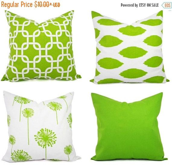 SALE Mix and Match  Green Pillow Pillows by TwistedBobbinDesigns