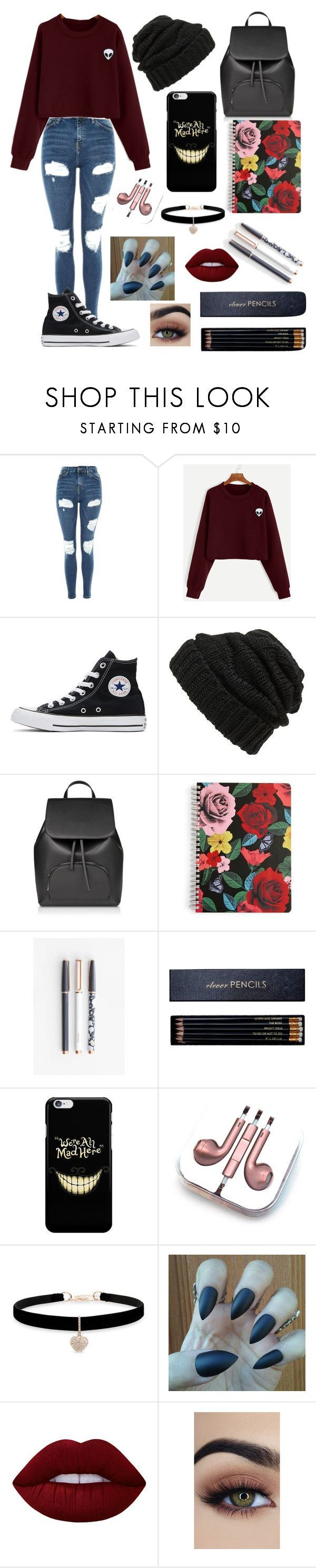 """"" by aesthetic-fashion on Polyvore featuring Topshop, Converse, Leith, Vera Bradley, U Brands, Sloane Stationery, PhunkeeTree, Betsey Johnson and Lime Crime"