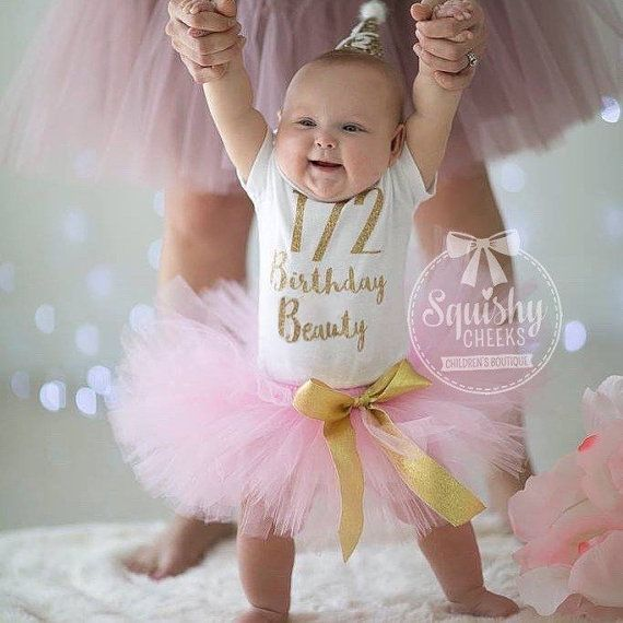 Half Birthday Outfit Pink and Gold Half by BabySquishyCheeks