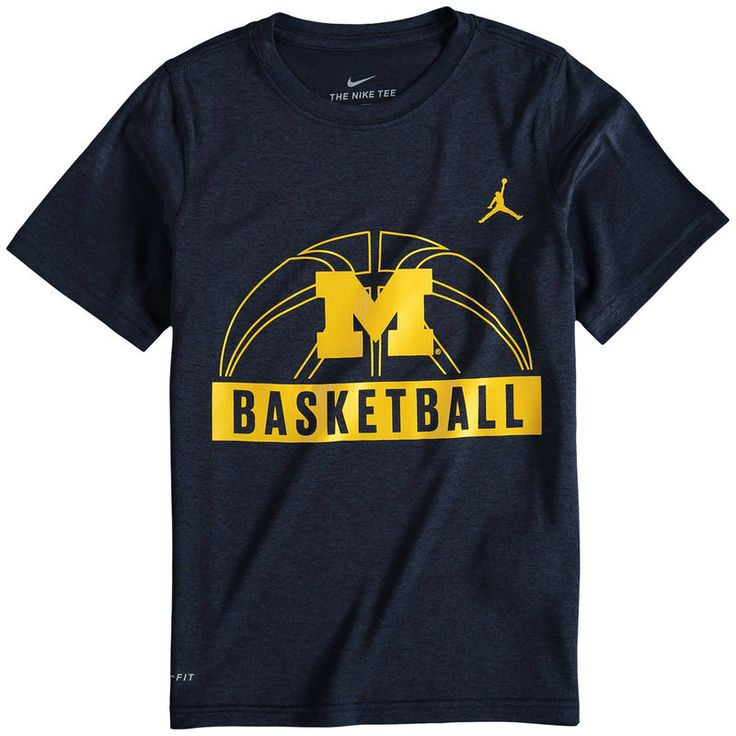 Michigan Wolverines Brand Jordan Youth Basketball and Logo Performance T-Shirt - Navy