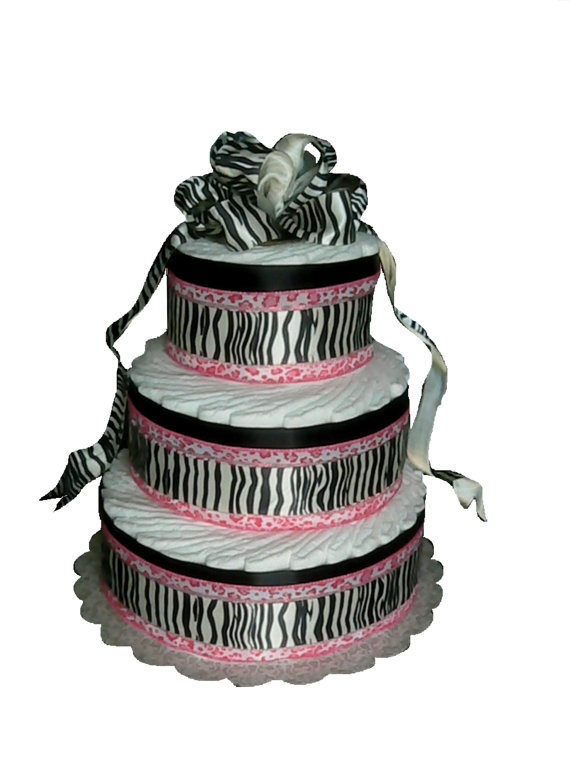 3 Layer  Zebra Print Pink and Black Baby Shower by rubberduckybaby, $54.95