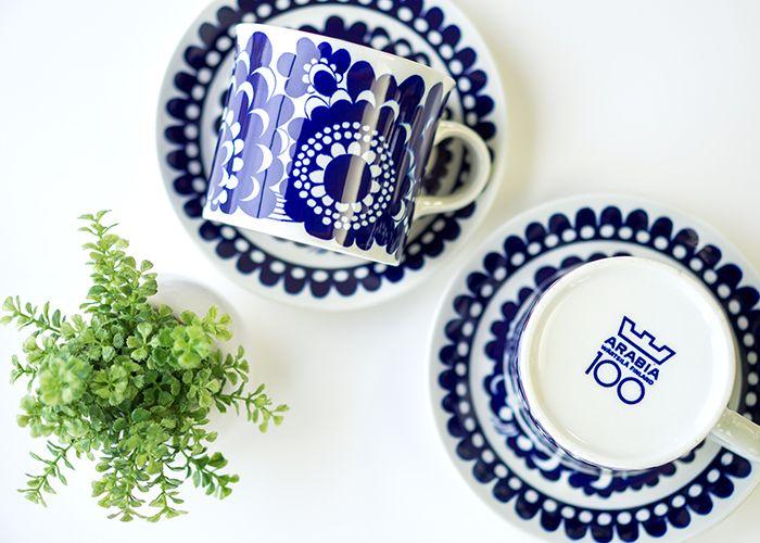 アラビア/ARABIA 100周年記念/100 Years Vuotisjuhlakuppi ブルー/Blue コーヒーカップ&ソーサー フィンランドのアラビア社生誕100周年を記念して限定販売された作品です。