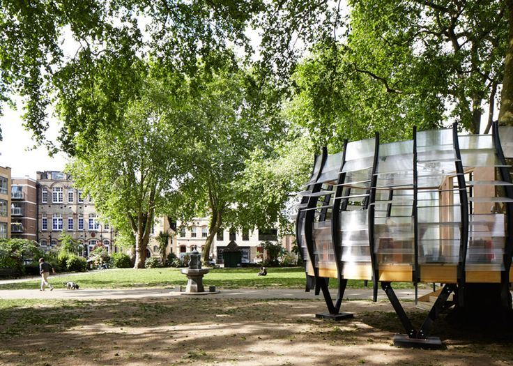 This translucent pod in Hoxton square provides temporary office space intended to encourage workers into the borough's parks.