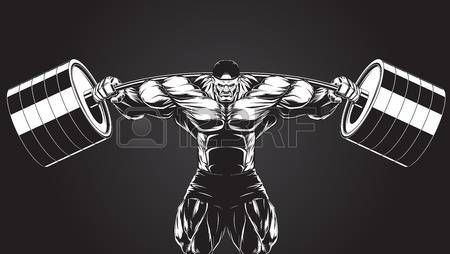 Illustration  a ferocious bodybuilder with a barbell