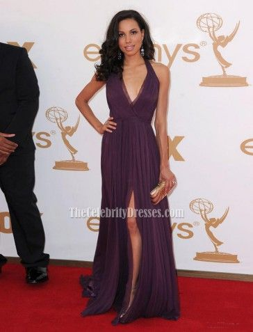 2011 Emmy Awards Red Carpet Dresses Jurnee Smollett Deep V-Neck Prom Gown Formal Evening Dress
