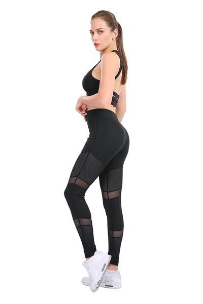 d3371b3f99b108 CHRLEISURE Mesh Fitness Leggings Ankle-Length Stitching Hollow Sold Soft  Pants Slim Elasticity Push Up Lady's Legging Women