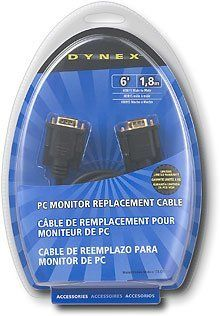 Dynex VGA 6'/1.8m PC Monitor Replacement Cable DX-C102111 by Dynex. $0.01. Images look fuzzy on your monitor? Time to replace that old cord with this 6' male-to-male cable designed with HDDB15 connectors.  Cable Length: 6 feet Cable Type: HDDB15 Male to HDDB15 Male Cable Use: Monitor