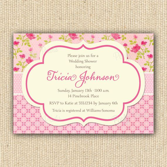 pink shabby chic baby shower invitations baby showers pinterest