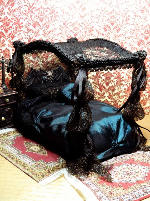 Black, Vampire, Witch, Lace, Miniature, Dollhouse, Dressed Bed, 1/12 Scale
