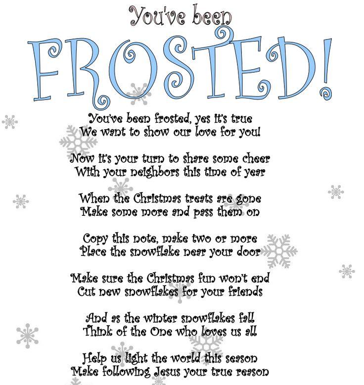 Youve been frosted secret santa poem