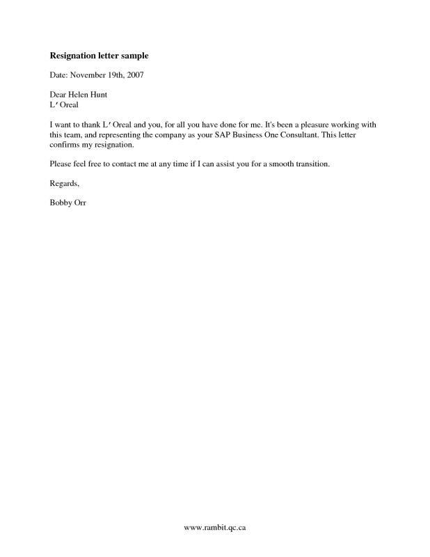 Official Resignation Letter template Pinterest Resignation