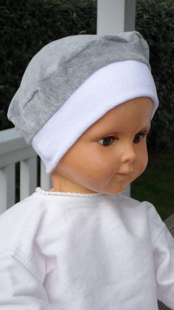 bonnet de naissance bonnet de baptême beret chapeau, pour bébé,en velours  blanc et gris,doux et agréable, créateur lin eva 8e25eb4ee8d
