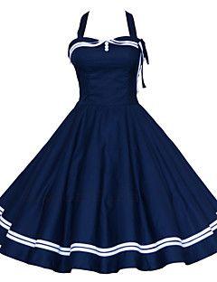 De las mujeres Vestido Tallas Grandes / Sexy / Vintage / Fiesta / Para Trabajo / Casual Un Color / Geométrico Hasta la Rodilla Halter