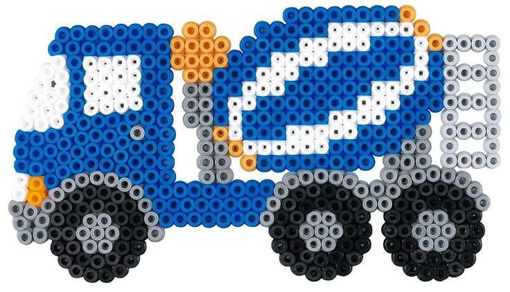 Hama - 3143 - Loisirs Créatifs - Boîte Perles à Repasser - Taille Midi - Les Engins De Chantier