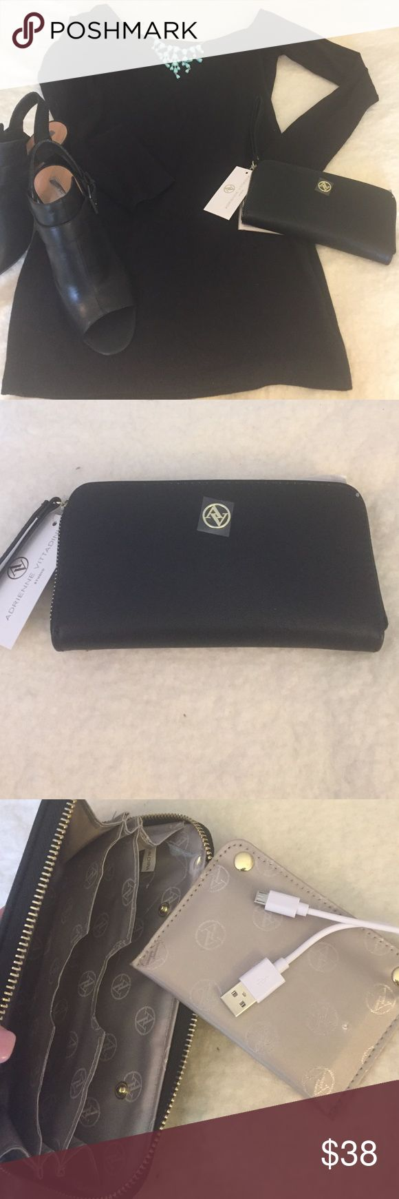 NWT- Adrienne Vittadini Charging Wallet Never worry about your phone running out of battery again with this Adrienne Vittadini wallet. The wallet has a removeable, reusable charging power bank. Works with IPhone 5/5s/6/6s. All this in a stylish designer wallet!! Adrienne Vittadini Bags Wallets
