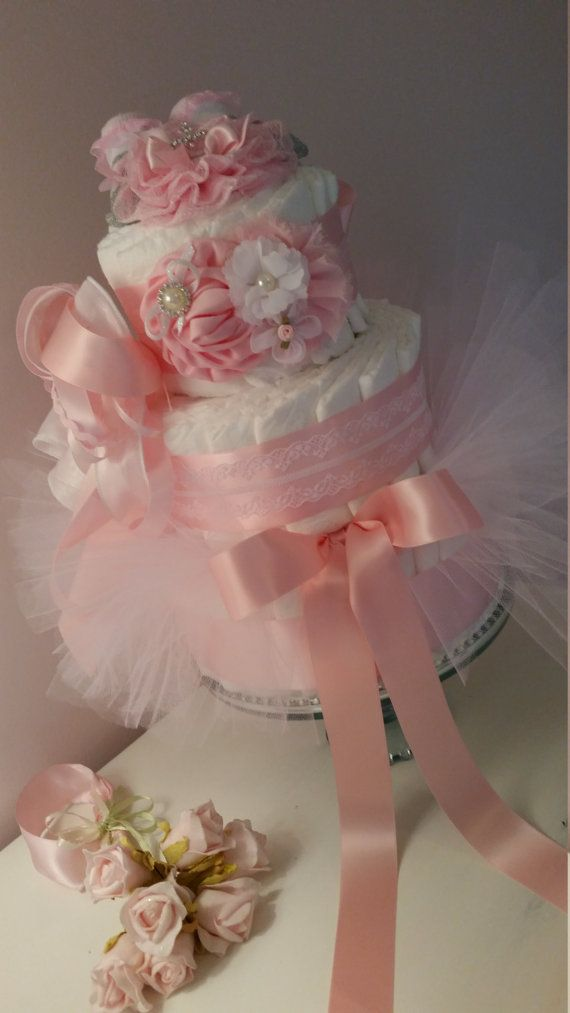Girls Diaper Cake Shabby Pink With Bling Headband(Headband Style will Vary with each order) , Booties, and NB Tutu Photo Prop