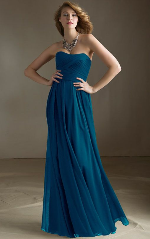 Chiffon Strapless Natural Floor-length Zipper Bridesmaid Dresses