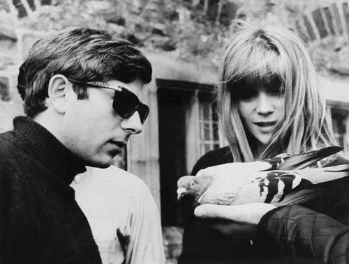 Roman Polanski e Francoise Dorleac sul set di Cul-de-sac, (1966)