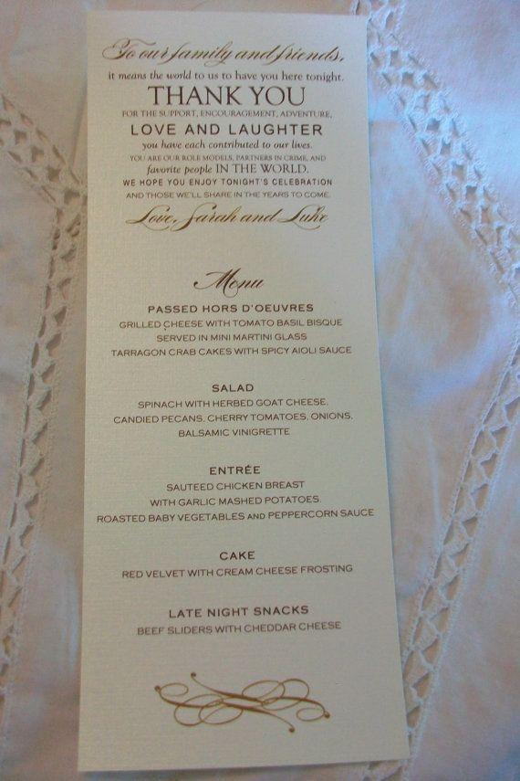 Wedding Menu Card  Thank You Design  your choice of by cdkane59. , via Etsy.