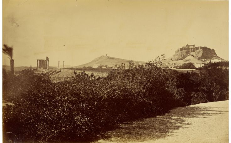 Athens - Temple of Zeus Olympios and Acropolis from the east. Date: 1860 - 1869. Artist/Maker: Baron Paul des Granges