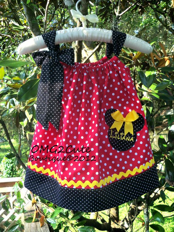 Minnie Mouse Pillow Case Dress-RED- Combo 2 tie options included with FREE Name - for when we go to Disneyland!