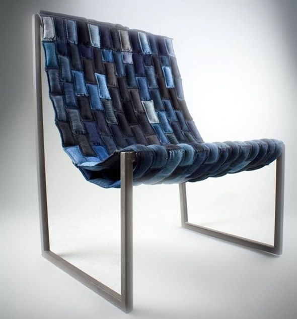 The denim chair made of recycled old denim.