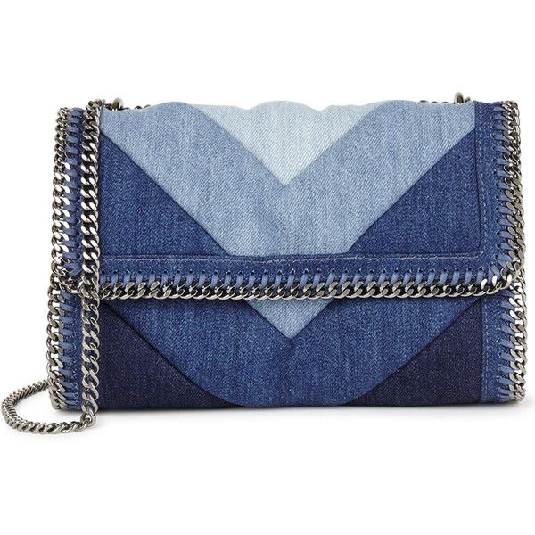 Stella McCartney Falabella denim shoulder bag ($815) ❤ liked on Polyvore featuring bags, handbags, shoulder bags, denim purse, patchwork purses, blue handbags, denim shoulder bag and chain purse