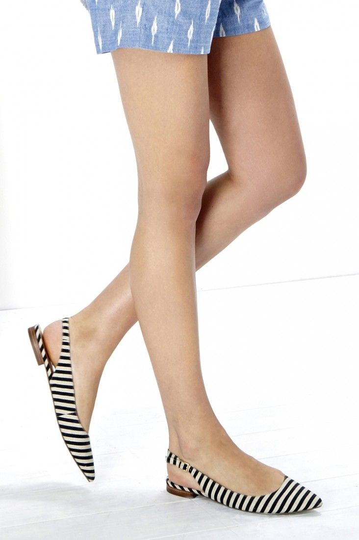 Black & white striped slingback flats with pointed toes
