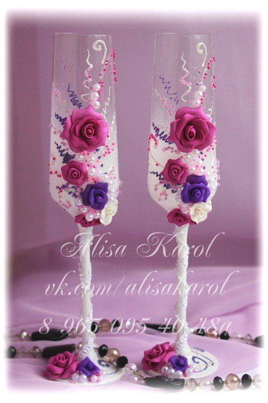 hand made wedding glasses  for champagne with  lilac roses.Hand made weding flute