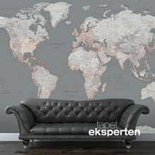 Fototapet - Sølvgråt verdenskort. flot verdenskort i grå nuancer.