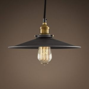 Industrial Brass Shaded exposed light bulb pendant light.  Shown here with a pear shaped carbon filament 25w light bulbs and also available with a spherical 95m or spherical 125mm.