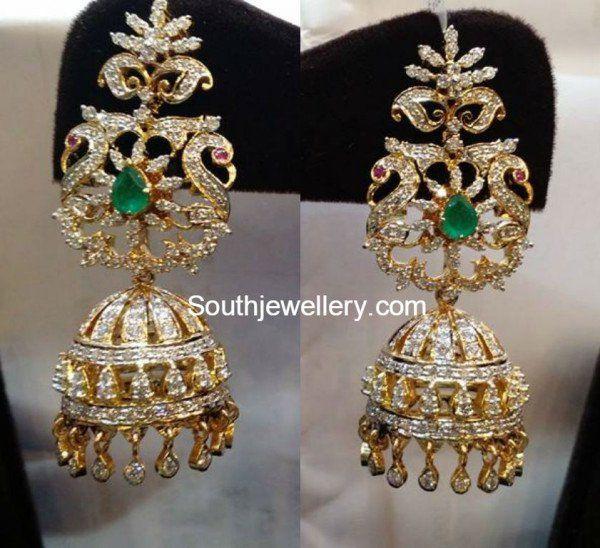 Peacock Diamond Jhumkas photo