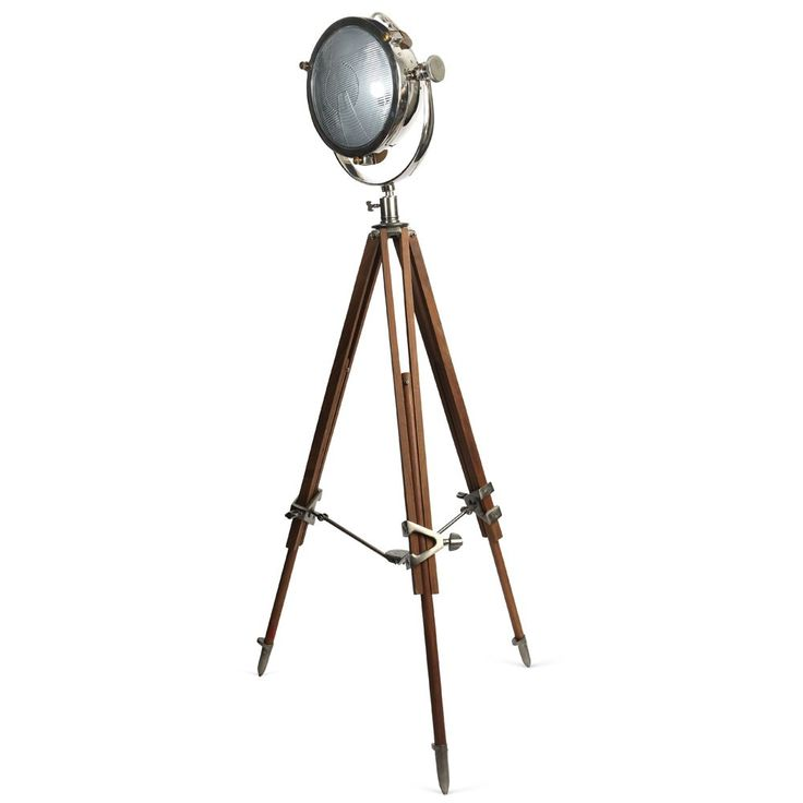 Rolls Headlamp Floor Lamp With Natural Wood Tripod - Pre-order - Due Late November - Floor Lamps - Lighting   Culinary Concepts