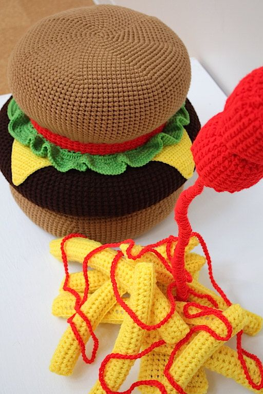 Ready to Ship Crochet Giant Huge Cheeseburger and French Fries Ottoman by OliviaLawsArt