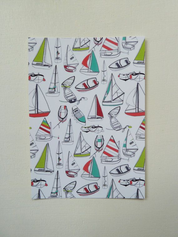 This Sailing Boat Pattern Postcard is designed and illustrated by Rachel Ali Hawkins. The postcards are blank on the other side which means these postcards can be sent to someone or used simply for decoration. They measure approx 105mm x 148mm and come in a protective cellophane bag. Printed onto thick 350gsm, FSC credited paper stock.