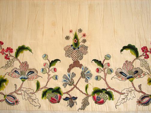 Maria Niforos - Fine Antique Lace, Linens & Textiles : Early Items # EI-12 Rare 18th C. Jacobean Silk Embroidered Apron