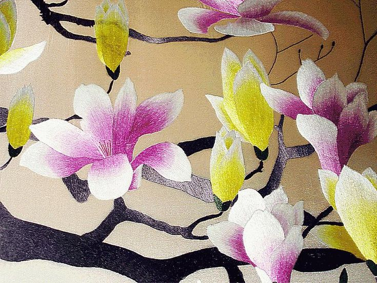 Tender branch of Magnolia  \\ PICTURES, EMBROIDERED BY SILK ON THE SILK \\ author's embroidery of the masters   embroiderers of China