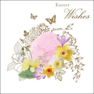 Egg with flowers #Easter card, finished with glitter varnish.  The greeting inside reads Happy Easter.