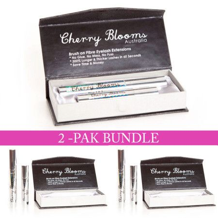 Cherry Blooms Mascara Brush On Fiber Eyelash Extension 2-Pak Bundle