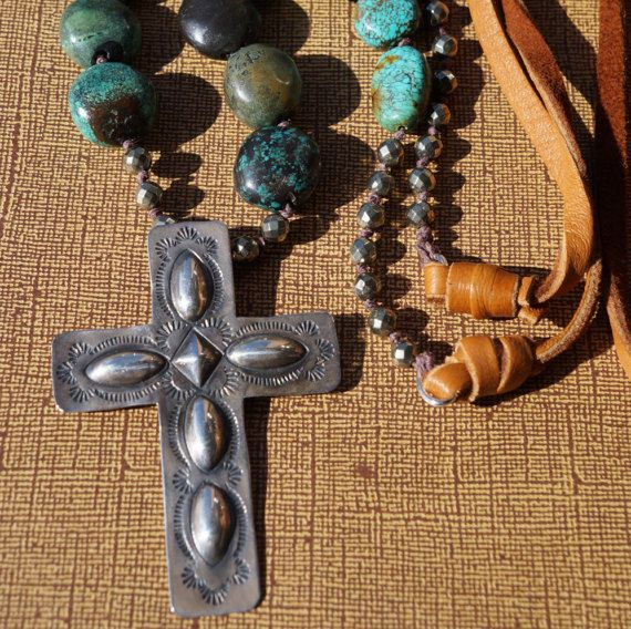 Sterling Silver Knotted Turquoise and Leather Necklace