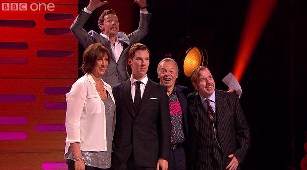 Last night on the Graham Norton Show Benedict Cumberbatch did this. | Benedict Cumberbatch Photobombed His Own Waxwork Last Night And It Was Marvellous