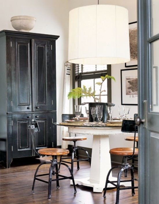 in the kitchen: Cabinets, Dining Rooms, Rustic Industrial, Lights Fixtures, Cabinets, Black White, Industrial Chic, Industrial Style, Stools