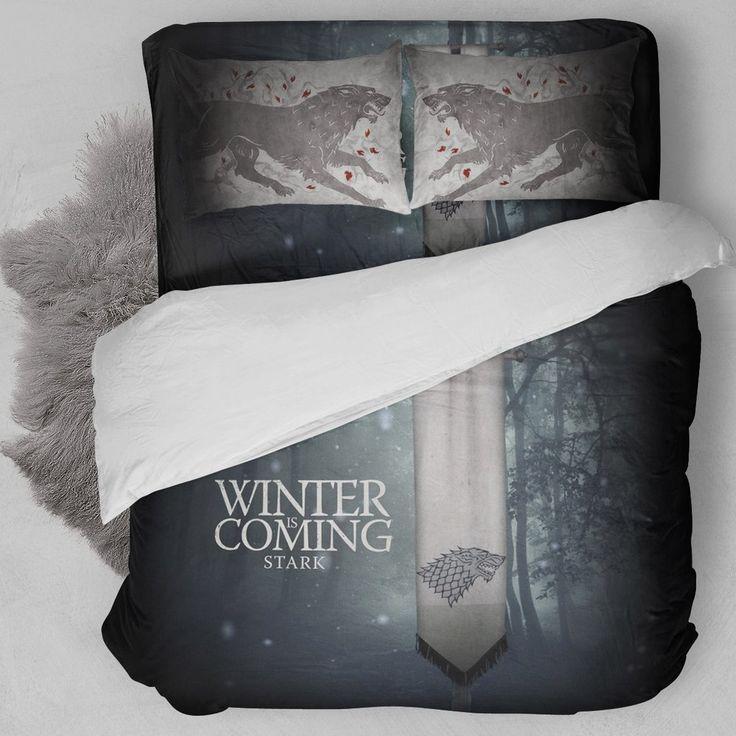 game of thrones house stark bedding set bteeful. Black Bedroom Furniture Sets. Home Design Ideas