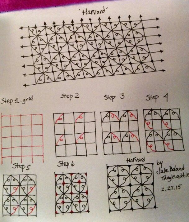 New tangle pattern, Harvard. Julie Beland, 2/15. Zentangle.