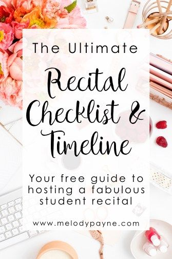 The Ultimate Recital Checklist & Timeline - Your FREE guide to hosting a fabulous students recital | Melody Payne – Engaging educational resources, fresh & inspiring ideas, piano lessons & professional mentoring