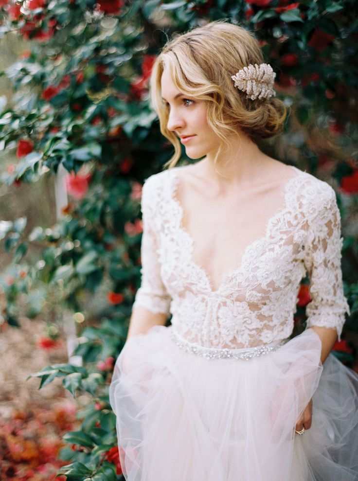 Lace wedding dress by emily riggs image by erich mcvey for Simple romantic wedding dresses