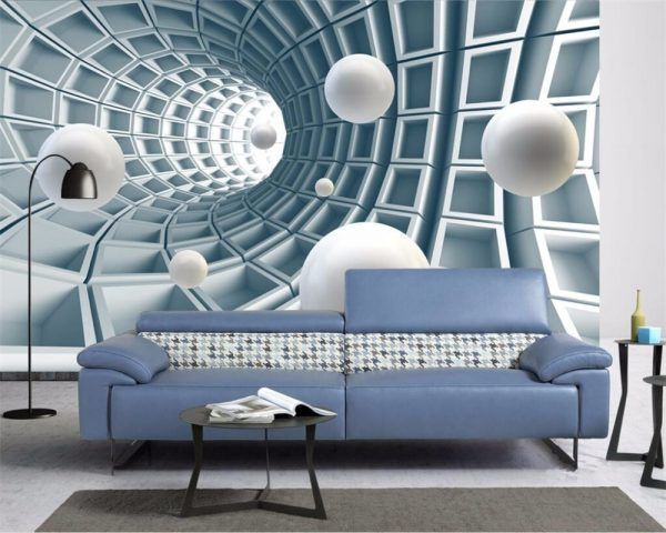 Custom Photo Wallpaper 3d Mural Stereo Abstract Tunnel Space Ball