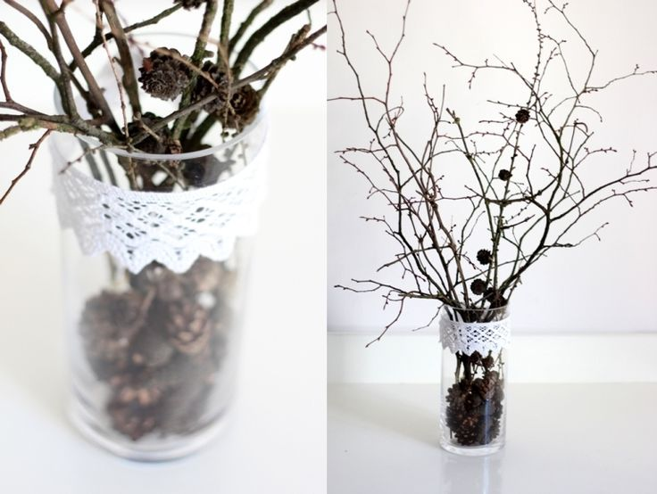 wazon, DIY, Wystrój wnętrz,  koronka, mmday, jesienny stroik, ozdoba na jesień, gałęzie, szyszki, vase, DIY, decor, lace, mmday, autumn wreath, decoration for autumn, branches, pine cones,